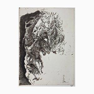 Horst Janssen, Selbstportrait Elegisch, 1982, Impression sur Papier Signée à la Main