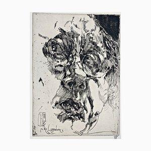 Horst Janssen, Selbstportrait barock, 1982, Handsignierter Druck auf Papier