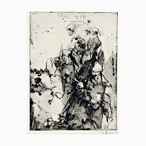 Horst Janssen, Glas mit trockenen Rosen, 1973, Impresión firmada a mano en papel