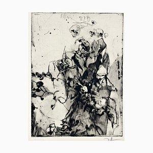 Horst Janssen, Glas mit trockenen Rosen, 1973, stampa autografata su carta