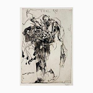 Impresión en papel firmada a mano por Horst Janssen, Rest, 1972