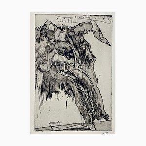 Horst Janssen, Knochen eines Vereinsmitgliedes, 1972, Impression sur Papier Signée à la Main