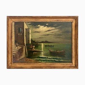 Peinture Napolitaine, Marechiaro di sera, 1990s, Huile sur Toile