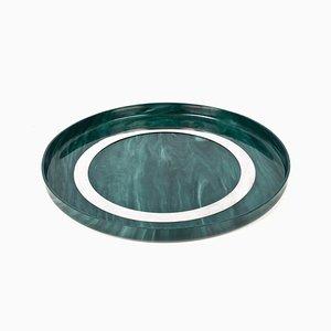 Großes rundes italienisches Mid-Century Tablett aus Bakelit und Stahl, 1980er