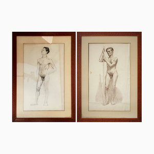 Study of Male Nude, Charcoal and Pencil on Paper