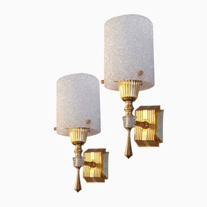 Golden Wall Lights with Perspex, France, Set of 2