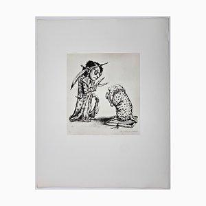 Andreas Paul Weber, Lasst mich bitte ungeschoren, 1980, handsignierte Lithografie auf Papier