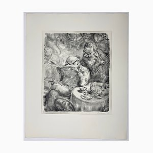 Andreas Paul Weber, Das Allerneueste, 1973, Hand-Signed Lithograph on Paper