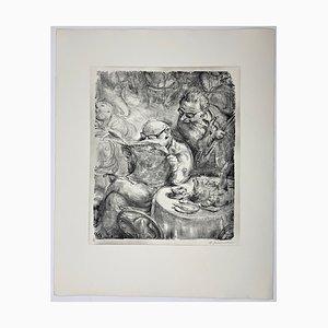 Andreas Paul Weber, Das Allerneueste, 1973, handsignierte Lithografie auf Papier