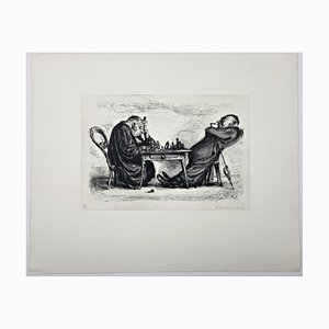 Andreas Paul Weber, Die feindlichen Brüder, 1973, Hand-Signed Lithograph on Paper