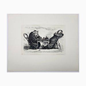 Andreas Paul Weber, Die feindlichen Brüder, 1973, handsignierte Lithografie auf Papier