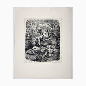 Andreas Paul Weber, Die Morgenpost, 1973, handsignierte Lithografie auf Papier