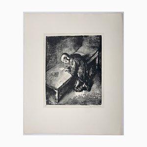 Andreas Paul Weber, Der Gefangene / Der Brief, 1973, handsignierte Lithografie auf Papier