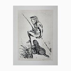 Andreas Paul Weber, Meine Fische Deine Fische, 1974, Lithographie sur Papier Signée à la Main