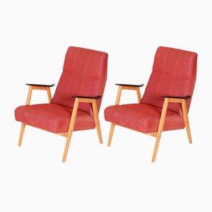 Mid-Century Czechian Red Restored Armchairs by Jaroslav Šmídek, 1950, Set of 2