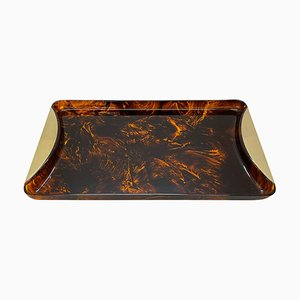 Mid-Century Tray in Tortoiseshell Effect Lucite and Brass from Guzzini, Italy, 1970s