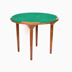 Mid-Century Round Wooden Game Table with Green Cloth, Italy, 1970s