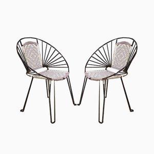 Mid-Century Hoop Stühle mit geflochtenen Sitzen und Rückenlehnen, 2er Set