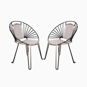 Sillas Hoop Mid-Century con asientos y respaldos de caña. Juego de 2