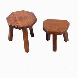 Brutalist Oak Side Tables in the Style of Charlotte Perriand, 1950s, Set of 2