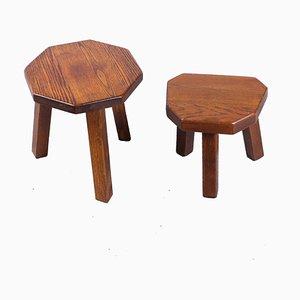 Tables d'Appoint Brutalistes en Chêne, 1950s, Set de 2