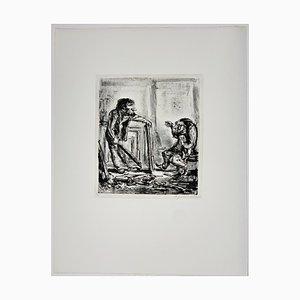 Andreas Paul Weber, Verschiedener Meinung, 1978, Lithographie sur Papier Signée à la Main