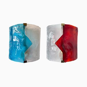 Italian Blue and Red Murano Glass Arrow Sconces from Mazzega, 1970s, Set of 2