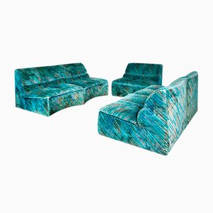 Italian Velvet Sofa and Armchair Modules from Saporiti Italia, 1970s, Set of 4