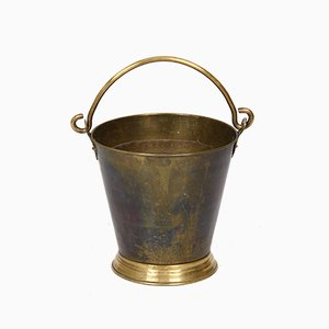 Bucket or Ice Bucket in Brass with Heavy Handle, Italy, Early 20th Century, 1930s