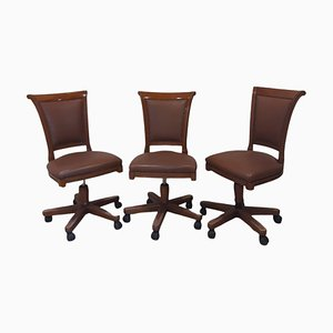 Mid-Century Swivel Chairs in Wood and Leather from Genoveva Spain, Set of 3