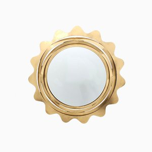 Gold Varnished Iron Sun Shaped Wall Mirror, Italy, 1980s