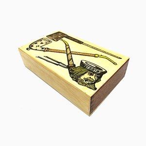 Mahogany Box with Pipe Decoration by Piero Fornasetti, Milan, Italy, 1950s