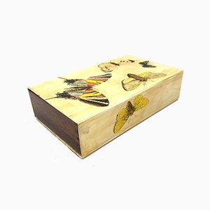 Mahogany Box with Butterfly Decoration by Piero Fornasetti, Milan, Italy, 1950s