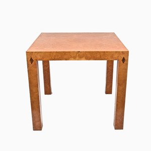 Mid-Century Square Table or Game Table in Poplar Root with Inlays, Italy, 1970s
