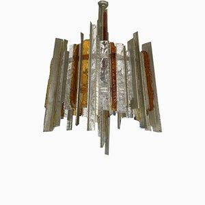 Italian Chandelier in Wrought Iron & Hammered Glass by Biancardi & Jordan Arte