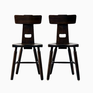 Brutalist Side or Dining Chairs in Beech Wood, Set of 2