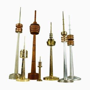 Fernsehturm-Modelle aus Messing, Teak & Aluminium, 1960er-1970er, 7er Set