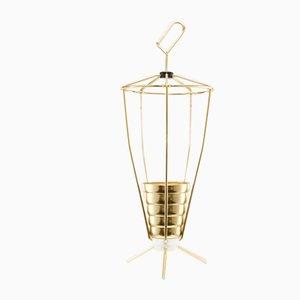 Mid-Century Golden Conical Tripod Umbrella Stand, 1950s