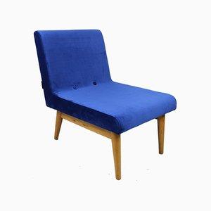 Poltrona in velluto blu, anni '70
