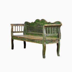 Antique Hungarian Pine Bench, 1920s