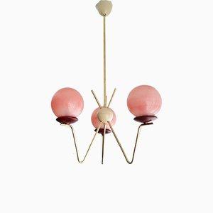 Mid-Century Portuguese Modern Pink Glass, Gold & Metal Sputnik Chandelier 1940s