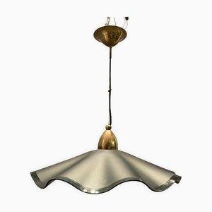 Lámpara colgante italiana de vidrio satinado, años 70