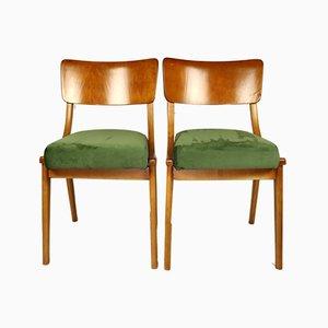 Grüne Esszimmerstühle, 1970er, 2er Set