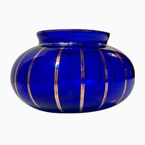 Art Deco Blue Bowl with Gold Enamel Stripes, 1930s