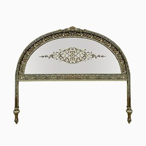 19th Century French Belle Époque Style Headboard in Bronze, Glass and Brass