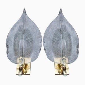 Große Blatt Wandlampen aus Murano Glas & Messing von Franco Luce, Italien, 1970er, 2er Set