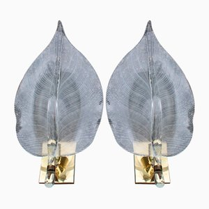 Lámparas de pared grandes con hojas de cristal de Murano y latón de Franco Luce, Italy, años 70. Juego de 2