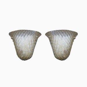 Apliques de cristal de Murano con polvo dorado, años 70. Juego de 2