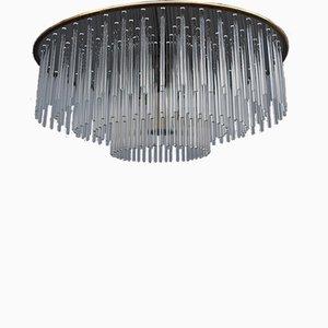Lámpara de araña con varillas de vidrio con marco de acero y latón de Gaetano Sciolari para Sciolari, Italy, años 70