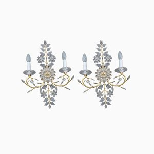 Crystal Sconces from Maison Jansen, France, 1970s, Set of 2